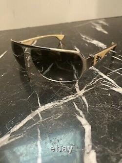 Authentic chrome hearts mount sunglass white ebony wood and silver frame
