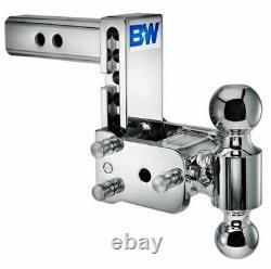 B&W Tow & Stow Adjustable Chrome 5 Drop 5-1/2 Rise 2-5/16 x 2 DualBall Mount