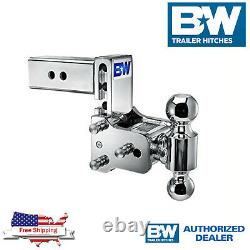 B&W Tow & Stow Chrome 7 Adjustable Dual Hitch Ball Mount With 2.5 Receiver