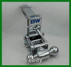 B&W Tow & Stow Chrome Receiver Hitch Dual Ball Mount 2 & 2-5/16 Balls 5.5 Drop
