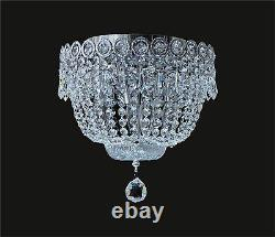 Beautiful FLUSH MOUNT dressed with REAL CRYSTALS, CHROME Frame (D12 x H10)