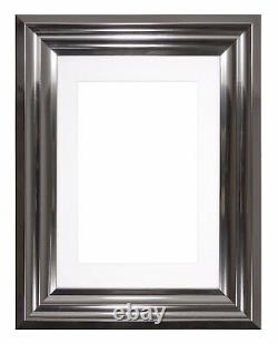 Bucharest Range Wide Frame Picture Photo Frames Decor With Mount Silver Chrome