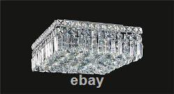 CRYSTAL CEILING MOUNT FIXTURE with 5 Lights, (L14 x W14 x H5.5) Chrome Frame