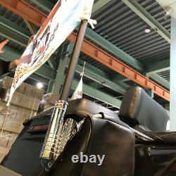 Chrome Flag Flagpole Luggage Rack Mount For Harley frame Support Holder