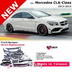 Front Bumper Cover CLA45 Style For Mercedes-Benz CLA250 14-19 With Sensor Holes