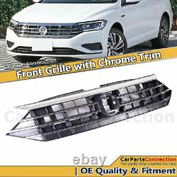 Front Bumper Upper Radiator Grille With Chrome For Volkswagen Jetta 2019-2020