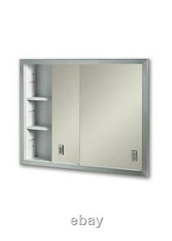 Jensen 24.625X19.1875 Recess Mount Metal Medicine Cabinet With A Stainless Steel