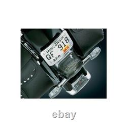 Kuryakyn CHROME Curved Laydown License Plate Mount With Frame 9171