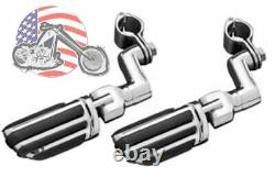 Kuryakyn Chrome Offset 1.25 Engine Guard Frame Mount Pilot Iso Pegs Set Harley