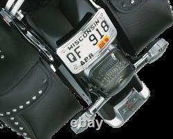 Kuryakyn Curved Laydown Chrome License Plate Mount with Frame 9171