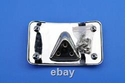 Kuryakyn Curved Laydown License Plate Mount w Frame, Chrome 9171