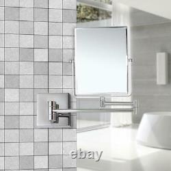 Makeup Mirror Stainless Steel Frame Bi-View Wall Mount LED Rectangular Chrome
