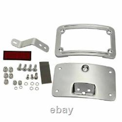 Mount Bracket With Reflectors Chrome For Harley Softail Curved License Plate Frame