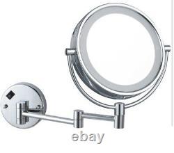 Nameeks AR7705- 5x Chrome Glimmer Wall Mounted Framed Makeup Mirror NIB