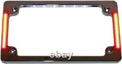 Tri-Horizontal License Plate Frame With Flush-Mount LEDs And LED Plate Light
