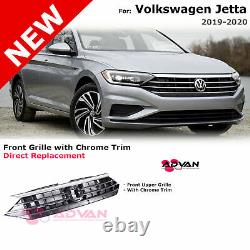 Upper Front Bumper Grille For 19-20 Volkswagen Jetta With Chrome Trim