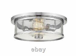 Z-Lite 2 Light Flush Mount, Clear, Glass Shade, Chrome Frame 462F14-CH