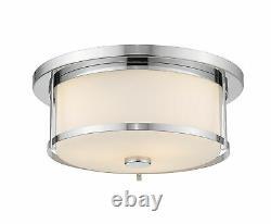 Z-Lite 2 Light Flush Mount, Matte Opal, Glass Shade, Chrome Frame 465F14-CH