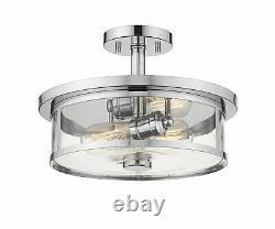 Z-Lite 2 Light Semi Flush Mount, Clear, Glass Shade, Chrome Frame 462SF14-CH