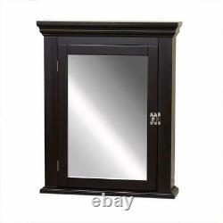 Zenith Bathroom Medicine Cabinet Rectangle Framed Mirror Surface-Mount Espresso